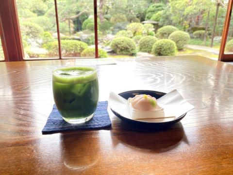 山本亭で庭を眺めながら茶菓をいただく